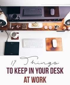 Tips for what to keep in your desk at work are featured, with things you need to have on hand in a pinch.