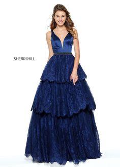 befa4d271137 Sleeveless Satin Bodice Sherri Hill 50844 Beaded Waistband Navy 2017  Plunging V Neckline Long Lace Evening Dresses