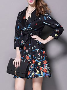 Embroidered Floral Cotton Trench coat