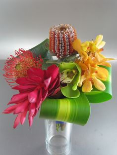 tropical wedding bouquet  - with cymbidium orchids (re)pinned by www.westpointorchids.com
