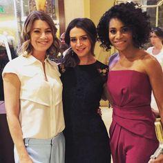 Ellen Pompeo (Meredith Grey), Caterina Scorsone (Amelia Shepherd) & Kelly McCreary (Maggie Pierce). Grey's Anatomy.