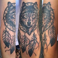 Wolf and dream catcher by Chad Whitson-Bearcat Tattoo Gallery-Little Italy-San Diego, CA