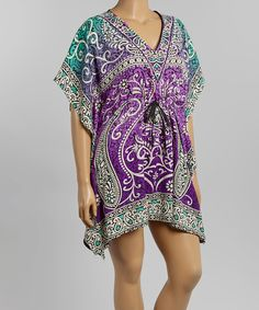 Look at this Purple & Aqua Scroll Caftan - Plus on #zulily today!