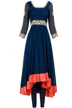 Blue embroidered asymmetrical anarkali set available only at Pernia's Pop-Up Shop.