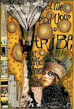 Teesha Moore is a mixed-media artist, creating visual journals, and a true entrepreneur. She created Zettiology, a line of rubber stamps and. Mixed Media Journal, Mixed Media Collage, Collage Art, Face Collage, Art Journaling, Art Journal Pages, Journal 3, Moleskine, Zentangle