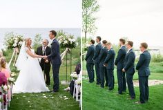 The bride and groom's wedding along the water was officiated by Rev. Matt Knapp from Sturgeon Bay Morovia Church, and his words brought both tears and giant belly laughs out of the bride & groom! Door County outdoor wedding venue: Horseshoe Bay Golf Club, Florist: Flora Flowershop, Planner: Door County Event Planners. As seen on BRIDES! >> Photo by The McCartneys Photography www.meetthemccartneys.com