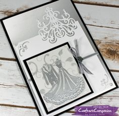 Bride and Groom card using supplies from @CraftersCompUS  #die'sire edgeables - Bride and Groom, Classic Chandelier die