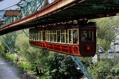 """SCHWEBEBAHN WUPPERTAL suspension railway in Wuppertal, Germany. Its full name is """"Electric Elevated Railway Installation, Eugen Langen System"""""""