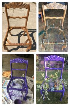 Before and after chair with succulents! shed landscaping sh. - Garden Care tips, Garden ideas,Garden design, Organic Garden Garden Yard Ideas, Garden Crafts, Diy Garden Decor, Garden Projects, Garden Landscaping, Landscaping Ideas, Fall Planters, Garden Planters, Chair Planter