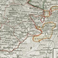 Large Map that has Darmstadt in it - 1836