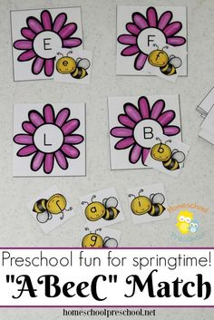 Bee Themed Letter Matching Games for Preschoolers This preschool alphabet matching game is perfect for your spring activities! Your little learners will love helping each bee find its home! Insect Activities, Alphabet Activities, Language Activities, Preschool Alphabet, Preschool Activities, Spring Activities, Alphabet Crafts, Alphabet Letters, Alphabet Writing