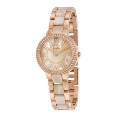 Fossil Virginia Beige Dial Ladies Watch and Earring Set Bracelet Swarovski, Resin Bracelet, Bracelet Watch, Stainless Steel Earrings, Stainless Steel Case, Or Rose, Rose Gold, Virginia, Authentic Watches