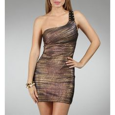 Navy/Gold One Shoulder Dresses ($65) ❤ liked on Polyvore