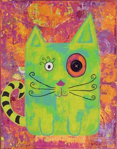 Whimsical Colorful Cat  Nursery Decor Giclee Print Green Pink