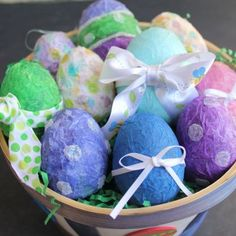 Turn ugly plastic Easter eggs into pretty paper mache eggs. Easy enough that the kids can do it!