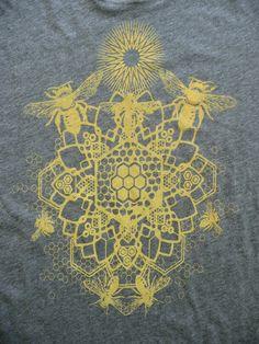 WOMEN'S Bee Mandala Printed in Honey Yellow on a Gray Bella Soft 100% Cotton Slim Fit Screen Printed T-Shirt. $22.00, via Etsy.