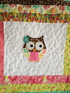Sock monkey or owl baby girl quilt. $125.00, via Etsy.