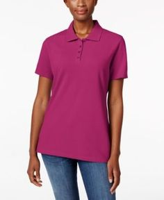 Karen Scott Short-Sleeve Polo Top, Only at Macy's - Pink XS
