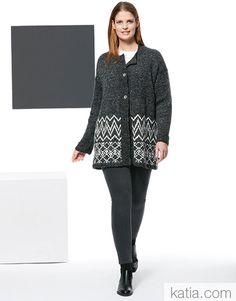 Ravelry: Jacket pattern by Fil Katia Winter Jackets Women, Jacket Pattern, Garter Stitch, Stockinette, Buttonholes, Fall Winter, Autumn, Black And White, Knitting