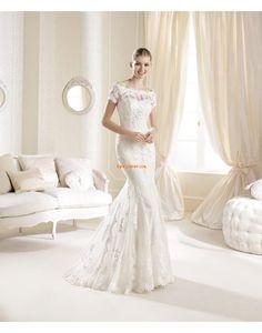 Birne Applikation Tiefe Taille Luxuriöse Brautkleider