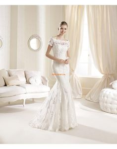 Moda de Encajes Escote Corazón Encaje Vestidos de Novia 2014