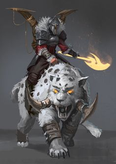 Red Knight - The Beastmaster by JoshCorpuz85 MEFCC saber tooth cat snow leopard fighter rider magic flaming fire axe monster creature beast armor clothes clothing fashion player character npc | Create your own roleplaying game material w/ RPG Bard: www.rpgbard.com | Writing inspiration for Dungeons and Dragons DND D&D Pathfinder PFRPG Warhammer 40k Star Wars Shadowrun Call of Cthulhu Lord of the Rings LoTR + d20 fantasy science fiction scifi horror design | Not Trusty Sword art: click…