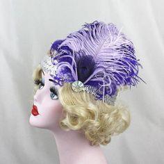Flapper Headband, Purple Feather Headband, Costume, 1920s flapper, Head Piece, Peacock Fascinator, Silver, Screen Goddess