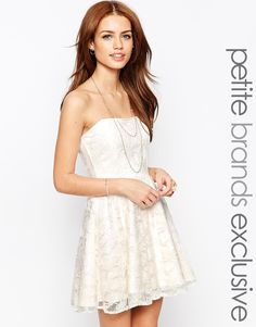 Buy John Zack Petite All Over Lace Bandeau Prom Dress at ASOS. Get the latest trends with ASOS now. Petite Prom Dress, Petite Cocktail Dresses, White Cocktail Dress, Petite Dresses, Lace Bandeau, Lace Dress, White Dress, Bustiers, White Prom Dresses