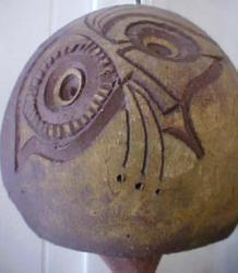 Lisa Larsen style Pottery Owl Bell