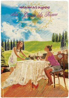 """Sotto il Girasole della Toscana"" by Mamatayoe. Postcard #1. PV14. Toscana, Painting, Art, Fashion Branding, Fabrics, Art Background, Painting Art, Kunst, Paintings"