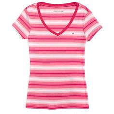 Tommy Hilfiger Final Sale- Multi Stripe Vneck Tee ($23) ❤ liked on Polyvore featuring tops, t-shirts, v-neck tee, pink top, pink tee, stripe tee and tommy hilfiger t shirts