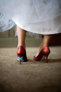 wow dorothy shoes with a blue bow!