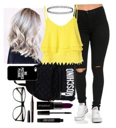 """""""OOTD"""" by sassy-strawberry ❤ liked on Polyvore featuring Moschino, Glamorous, Smashbox, Lord & Berry, Marc Jacobs and Casetify"""