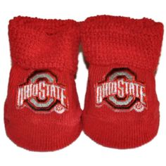 Ohio State Buckeyes Two Feet Ahead Infant Baby Newborn Red Socks Booties