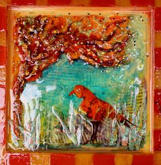 By Janice Kitson. Mixed media, textured, found object, resin collage painting. Orange Bird, Find Objects, Resin, Mixed Media, Copper, Collage, Texture, Wall Art, Painting
