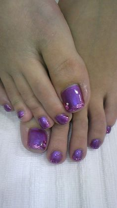 Purple toe nails