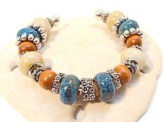 Surf and Sand  Aqua and Tan Cuff Bracelet with Wood Beads and European Large Hole Beads