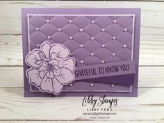 Stampin' Up! to a wild rose Horse Cards, Purple Cards, Stampin Up Catalog, Christmas Mom, Embossed Cards, Stamping Up Cards, Cards For Friends, Purple Rain, Card Sketches