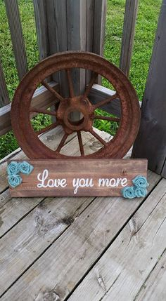 Love You More - Stained Wooden Rustic Sign - Handmade Burlap Flowers - Wood Wall Decor - Gift - Birthday - Mom - Wife - Grandma - pinned by pin4etsy.com