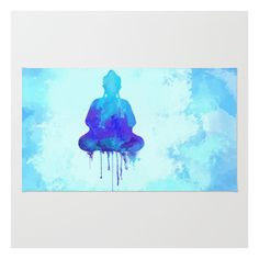 Watercolor Zen Buddha Blue Rug ($28) ❤ liked on Polyvore featuring home, rugs, blue chevron rug, blue chevron area rug, polyester rug, machine washable rugs and chevron area rug
