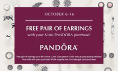 Who says you only have to wear one pair of earrings? We're making it easier for you to embrace this season's hottest trend with our FREE earrings event. Get a pair for free with your purchase of  $100 or more!