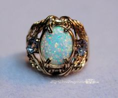 Handmade Wire Jewelry  Opal and  Alexandrite by MyWiredImagination, $145.00