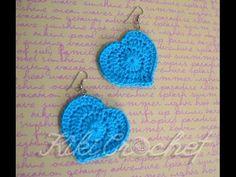 Πλεκτα Σκουλαρικια Καρδουλες με Βελονακι/ Crochet Heart Earrings