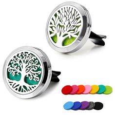 RoyAroma Car Aromatherapy Essential Oil Diffuser Stainless Steel Locket Air Freshener with Vent Clip 12 Felt Pads: Health & Personal Care Tea Tree Essential Oil, Essential Oil Diffuser, Aromatherapy Oils, Organic Oil, Air Freshener, Car Accessories, Fragrance, Pure Products, Stainless Steel