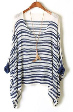 Blue White Striped Batwing Sleeve Loose Sweater - Sheinside.com