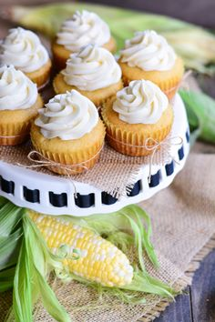 Cornbread Cupcakes with Honey Buttercream Frosting