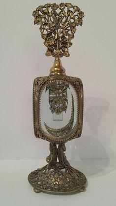 ANTIQUE VINTAGE GOLD GILT ORMOLU FILIGREE ORNATE VANITY PERFUME BOTTLE ~ MINT! #Victorian