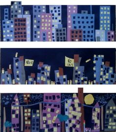 city collage- Grade Art with Mrs. City Collage, Collage Art, Cityscape Art, Skyline Art, 2nd Grade Art, Ecole Art, Art Curriculum, School Art Projects, Kindergarten Art