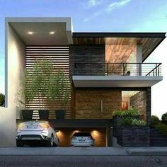 Fachadas de casas modernas - noted for recessed front load garage & front entry treatments; also cantilevered rooflines & recessed front entry (BV) Residential Architecture, Contemporary Architecture, Architecture Design, Modern Contemporary, Rustic Modern, Modern Minimalist House, Modern House Design, Minimalist Bedroom, Minimalist Decor
