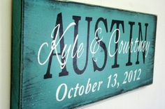 Personalized Name Sign Custom Name Sign Family Name Sign Wedding Anniversary Distressed Wood Rustic Shabby Chic Cottage Chic Handmade Teal